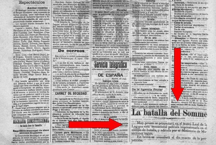 """La Prensa - 29 de diciembre de 1916. Anuncio de la próxima proyección de un documental en La Laguna sobre """"La batalla del Somme"""""""