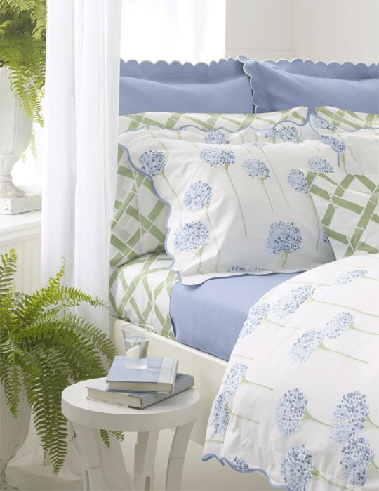 I know I say it all the time but your sheets are one of the most important elements to your bedroom spend the money.  I still have a copy of these sheets from 20 years ago and they're soft and priceless to me.. Charlotte LuLu DK from Elegant Linens= love the blue and green together