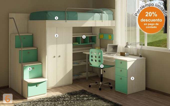 Mueble c digo a26 cama marinera con escritorio - Habitaciones infantiles marineras ...