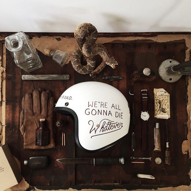 """Hand-illustrated motorcycle helmets is definitely happening. We took that old school sayin' from way back and actually applied it! Whiskey, rattlers and…"""