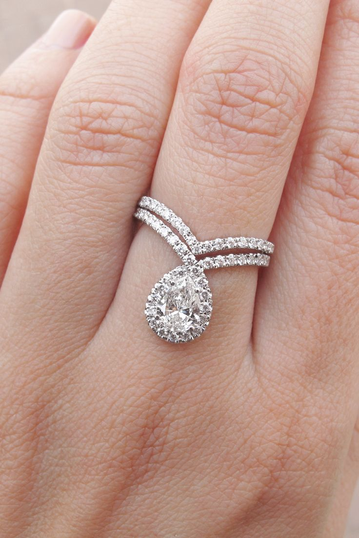 Pear Shape Diamond Ring Wedding Rings Set, With Diamond Crown Band ...