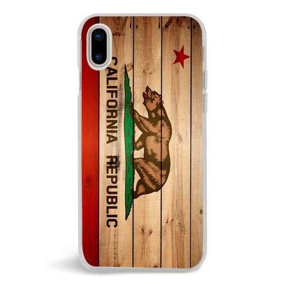 California Republic Flag Wood,iPhone X Case,Custom iPhone X Case,iPhone X