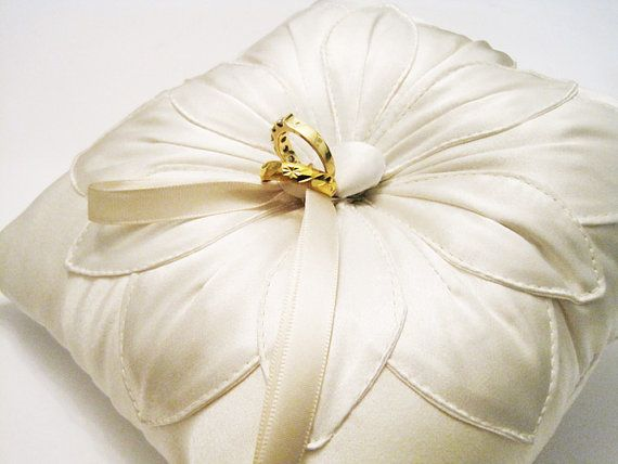 Wedding Ring Pillow: Ivory Silk Fleur Stitched on Etsy, $49.39