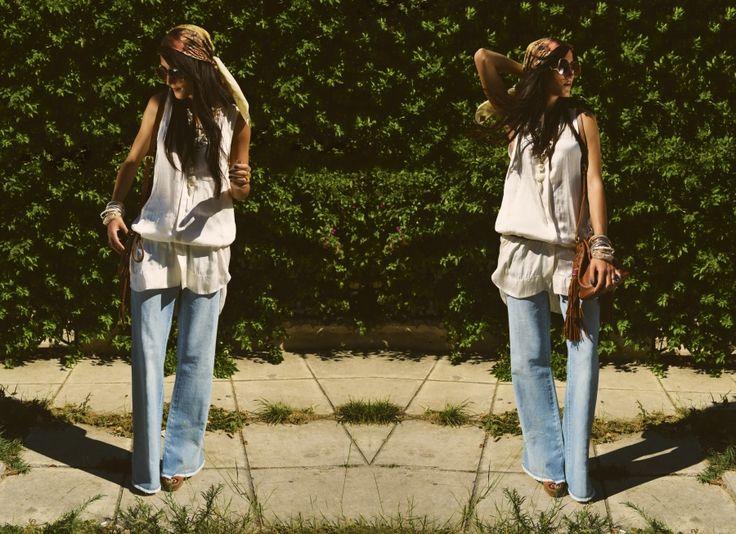 Shirt: H&M,Shoes: Private collection, Bracelets:Folli Follie,/AccessorizeScarf: Diesel,Rings: Folli Follie,Jeans: Diesel,  Necklace: - Folli Follie , Sunglasses:Private Collection,Belt: Private Collection,Bag: H&M.