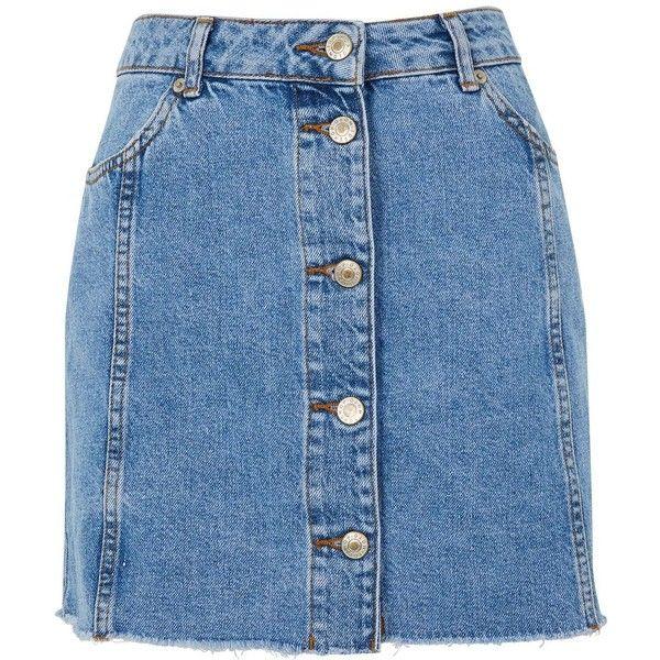 TopShop Button Through Denim Skirt ($58) ❤ liked on Polyvore featuring skirts, mini skirts, denim miniskirts, short skirts, button skirt and button-front denim skirts