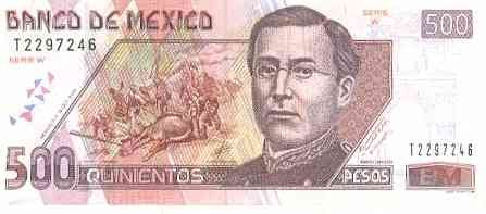 Mexican Peso These are very interesting notes. They have a person of history, as well as what looks to be a bull killed by a matador! Which is actually a Spanish tradition rather than a Mexican one, but, I digress.