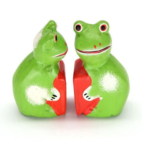 "KODO FROG PAIR CARVING Handvarved from sustainable albesia wood with painted details. Each stands 4.4"" high. Handmade by talented artisans in developing countries. Imported. Be sure to enter Kendra.IThoughtOfYou@gmail.com at checkout!"