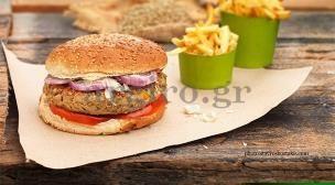 Cheeseburger  με λαχανικά,  χωρίς κρέας