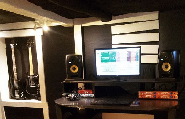 Rebuilding the studio. Just about done and it sounds awesome. Today we are recording some loud rock music.