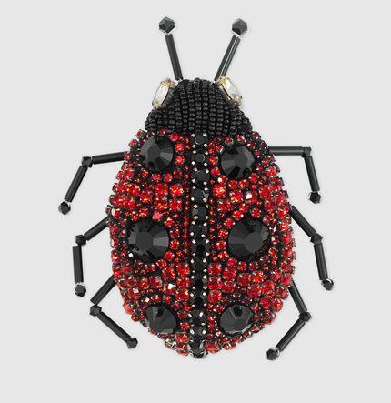 Gucci - ladybug brooch with crystals 427622I12488131