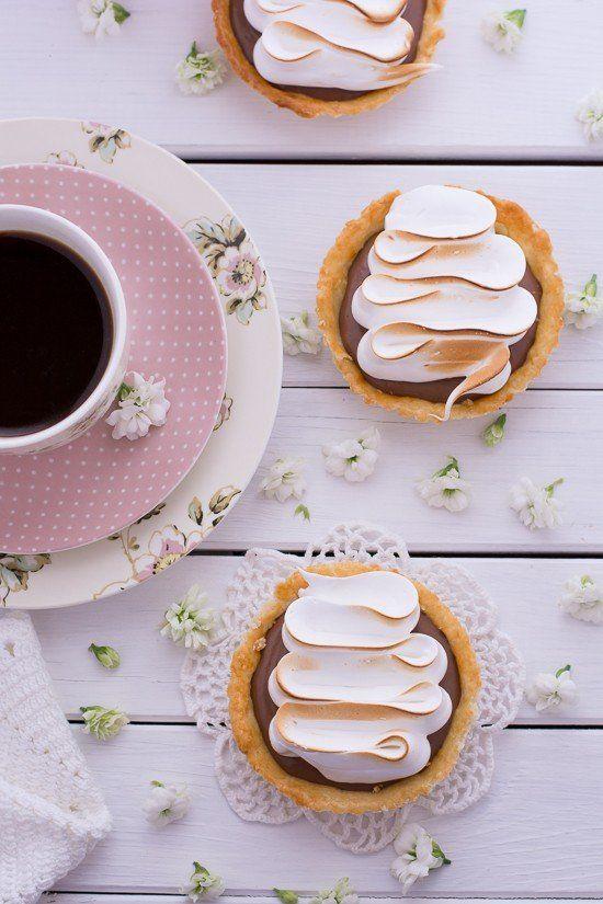 Tataletas de Chocolate y Merengue. Crema pastelera de chocolate