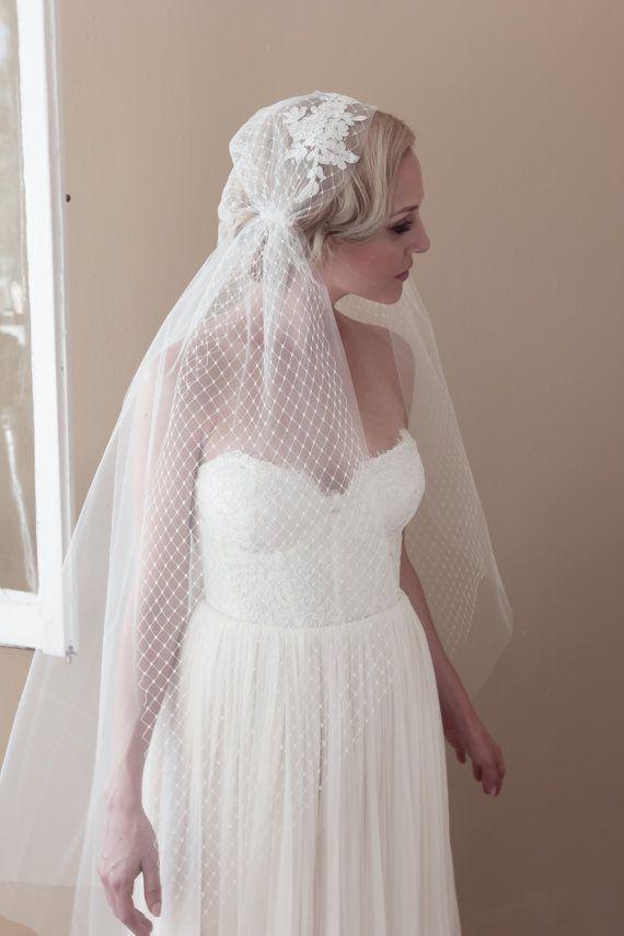 Juliet cap wedding veil alencon lace rhinestone bridal for Veil for champagne wedding dress