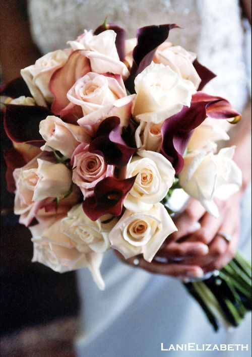 Bridal Bouquet of cream and blush roses, and burgundy calla lilies. Wedding florals by Lani Elizabeth Fine Design in Flowers, photo by Art of Emotion.