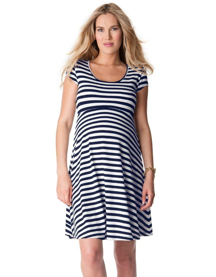 Trendy nautical stripes Stylish cut out at the back Above the knee  Belt sold separately   Our gorgeous nautical maternity dress is an essential style this season; working two trends at once with stylish nautical stripes and a flirty cut out at the back! Horizontal stripes are perfect for showing off a growing bump, and this fit n flare striped maternity dress hugs and skims your curves in all the right places for a flattering fit throughout your nine months and beyond. The flirty cut out…
