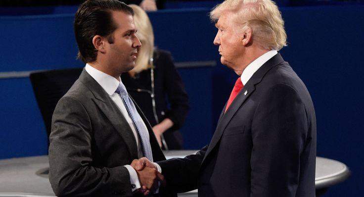 Donald Trump greets Donald Trump Jr
