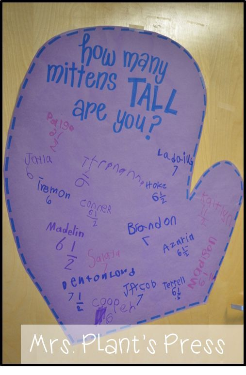 The Mitten Activities - Measuring length using mittens, etc.