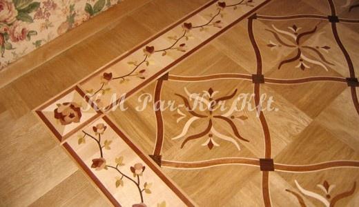Wood inlay floor border, intarzia bordür