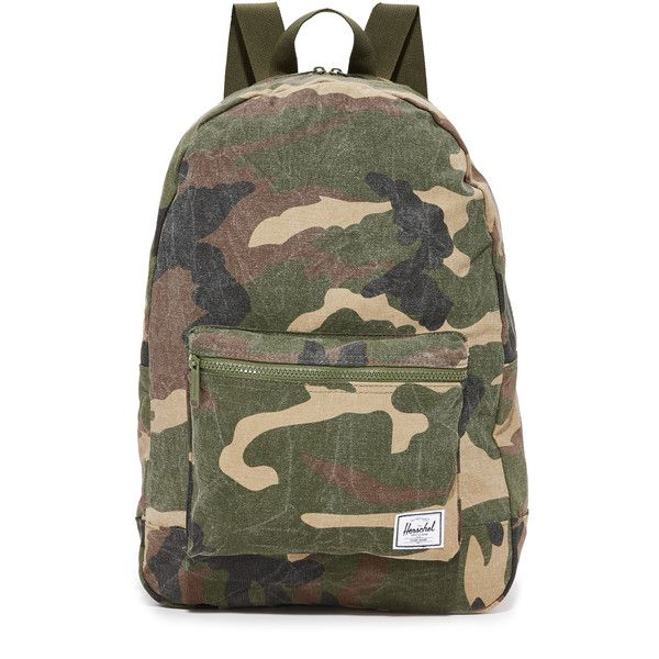 Herschel Supply Co. Daypack Backpack ($41) ❤ liked on Polyvore featuring bags, backpacks, woodland camo, camo bags, slouch backpack, canvas bag, backpack bags and canvas backpack