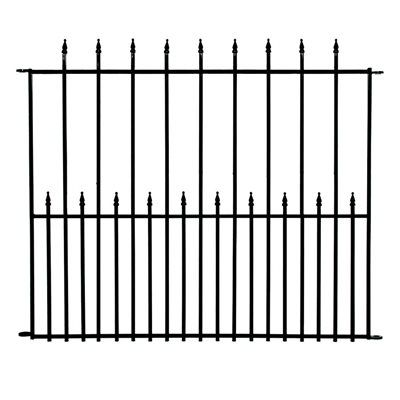 No Dig Grand 49-in x 40-in Empire Black Powder Coated Steel Fence Panel