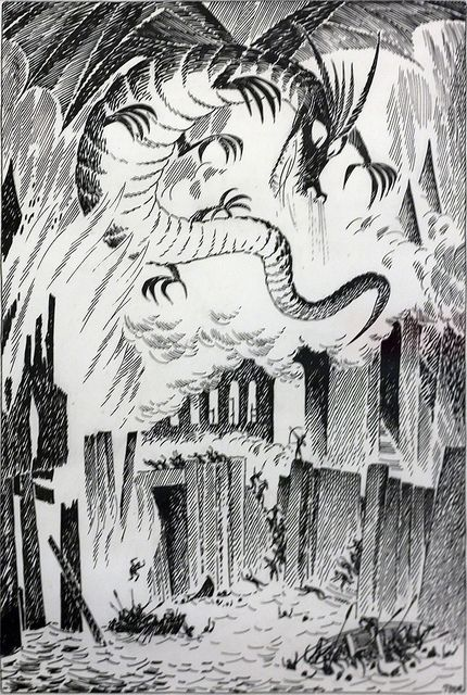 Tove Jansson's illustrations for the finnish edition of The Hobbit.