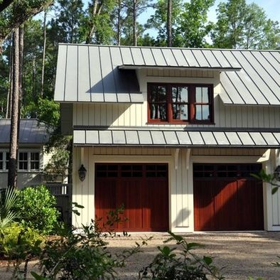 Metal roof garage and metal barn on pinterest for Metal roof craftsman home