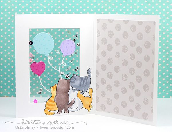 Art Impressions PURRRTHDAY Front and Backs Cling Rubber Stamps 4568 ... Handmade window birthday card (inside).: Art Impressions PURRRTHDAY Front and Backs Cling Rubber Stamps 4568 ... Handmade window birthday card (inside).