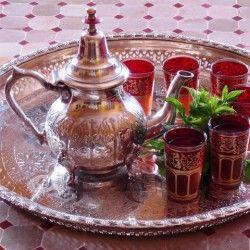 Marokkaanse zilveren oude Dienbladen, Theepotten & Suikerpotten