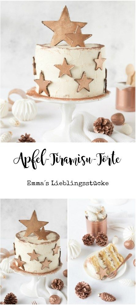 Apfel-Tiramisu-Torte mit essbarer Sterndeko in kupfer – Emma's Lieblingsstücke