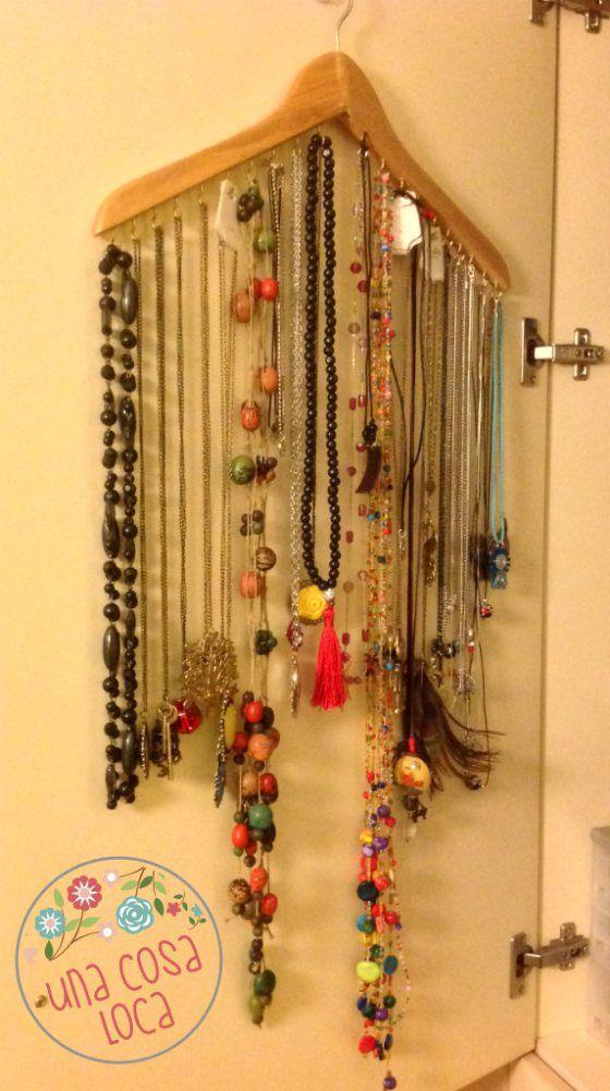 17 mejores ideas sobre organizar los pendientes en - Como colgar collares ...