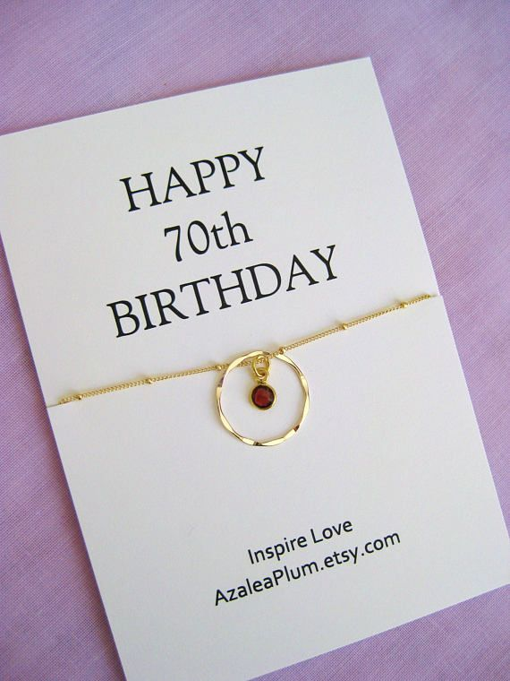70th BIRTHDAY Gift Gold Birthstone Necklace Birthday 40th Gifts For Women 90th