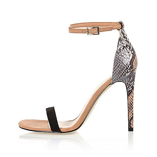 Beige snake print barely there sandal heels - heeled sandals - shoes /  boots - women