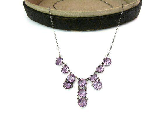 bd2a332835b4b Art Deco Crystal Necklace Amethyst Pink Fringe Choker Open Back ...