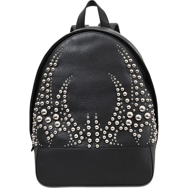 Alexander Wang Bookbag studded pebble silver backpack ($1,450) ❤ liked on Polyvore featuring bags, backpacks, black, silver backpack, alexander wang, silver bag, black studded backpack and studded backpack