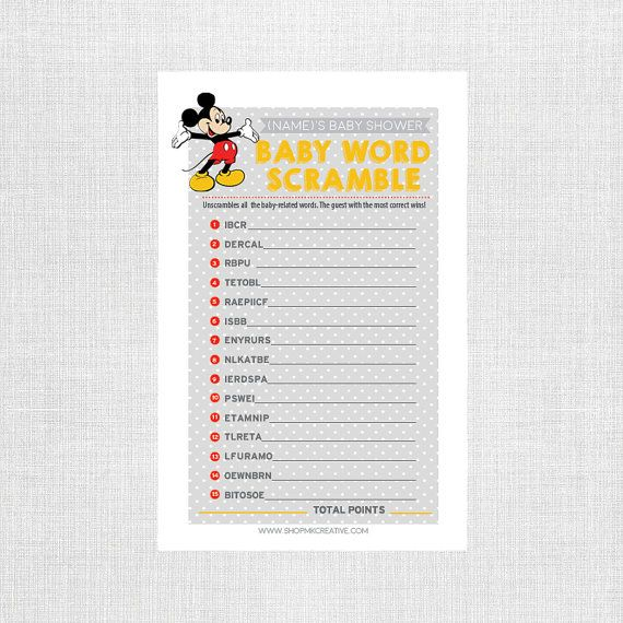 Baby Word Scramble Baby Shower Game Mickey By ShopMKCreative