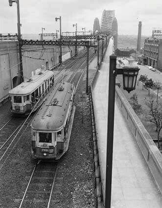 Sydney Harbour Bridge tram lines in 1952.