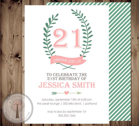 Girl Brithday Invitation 21st birthday invitation by T3DesignsCo, $12.99