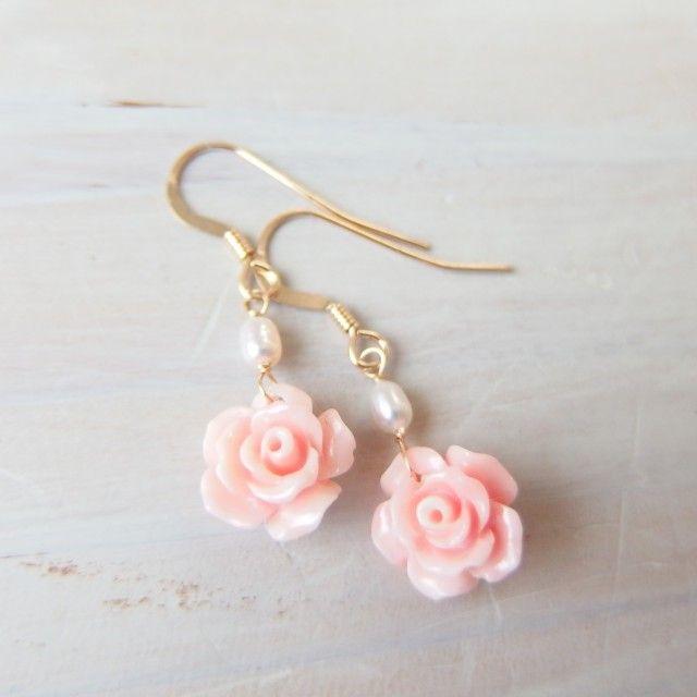 K14GF rose shell pierce - Otium Jewelry
