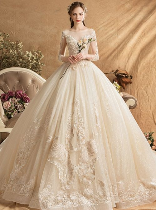 a29add2060cd3 Champagne Ball Gown Tulle Appliques Long Sleeve Backless Wedding Dress With  Train in 2019 | Wedding Dress 2019 | Wedding dresses, Dresses, Ball gowns