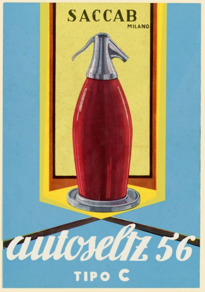 """The soda syphon selzer (or """"Autoseltz"""") created by Sergio Asti for Saccab in 1956."""