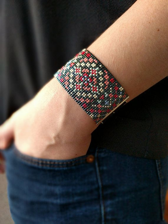 Miyuki beaded bracelet Multicolor pattern by jolieeM on Etsy