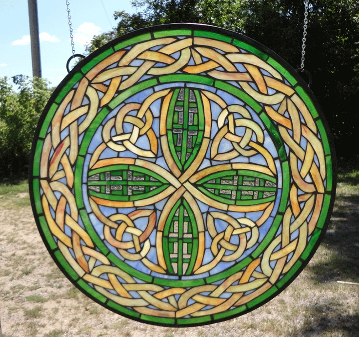 Irish Windmill Round Stained Glass Window WT21