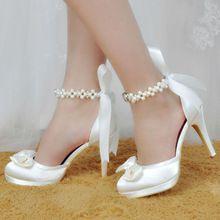 EP11074-PF Women's Shoes Ivory Bridesmaid  Closed Toe Bow Ankle Strap High Heels Satin Platform Woman Wedding Bridal Shoes Pumps(China (Mainland))