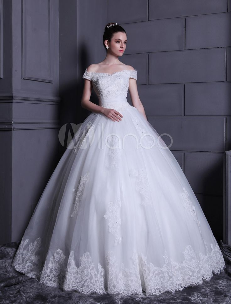 [$379.99] White Ball Gown Off-The-Shoulder Beading Lace Tulle Bride's Wedding Dress