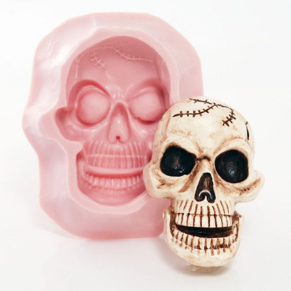 Large Skull Silicone Mold  Food Safe Chocolate by MoldMeShapeMe
