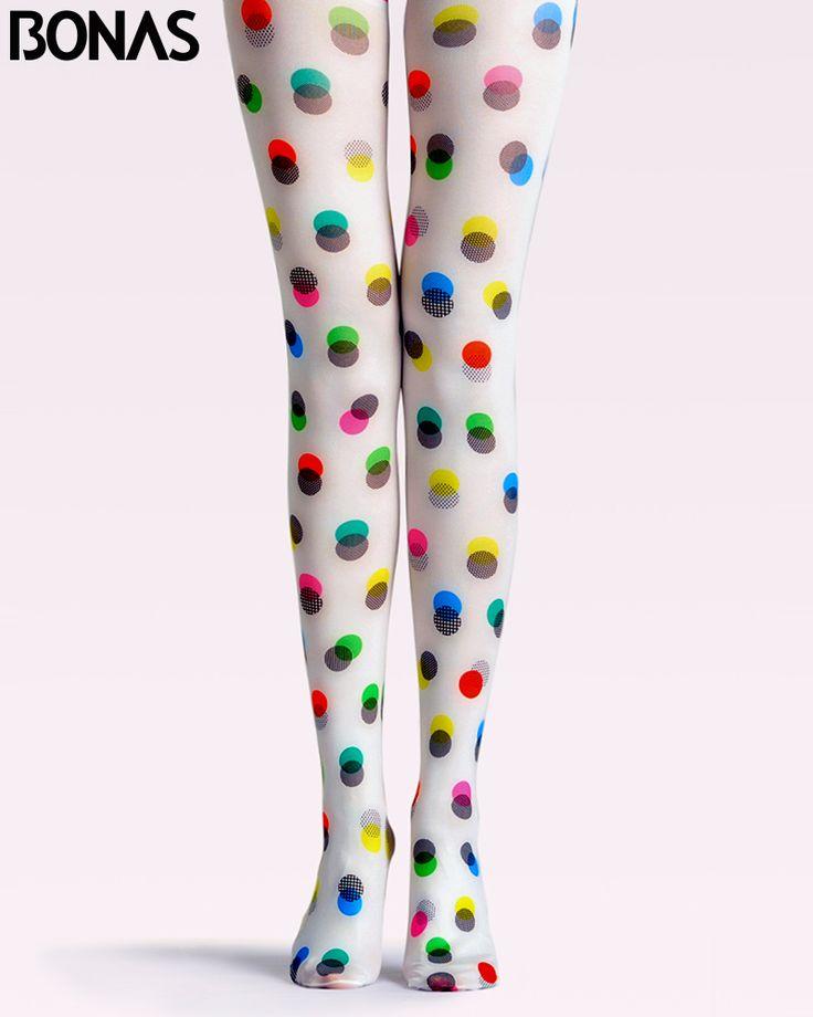 BONAS Colorful Dots Pantyhose Fashion Harajuku Stockings Tights
