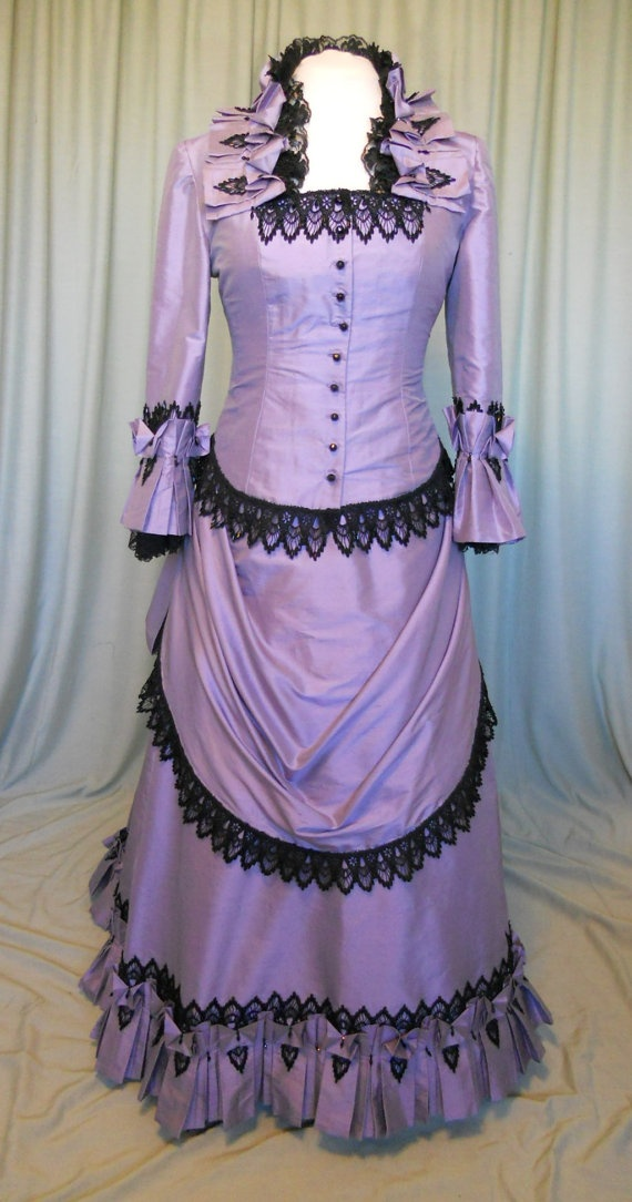 Victorian Bustle Dress in Lavender silk with black hand beaded lace