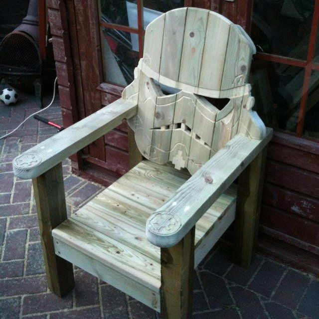 Stormtrooper Head Chair: Wooden Chairs, Darth Vader, Adirondack Chairs, Storms Troopers, Stars War, Gardens Chairs, Wood Decks, Decks Chairs, Lawn Chairs