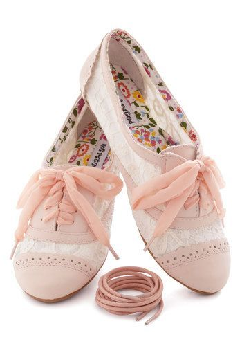 Pretty Pink Spring Flat Shoes - not rated lace oxfords