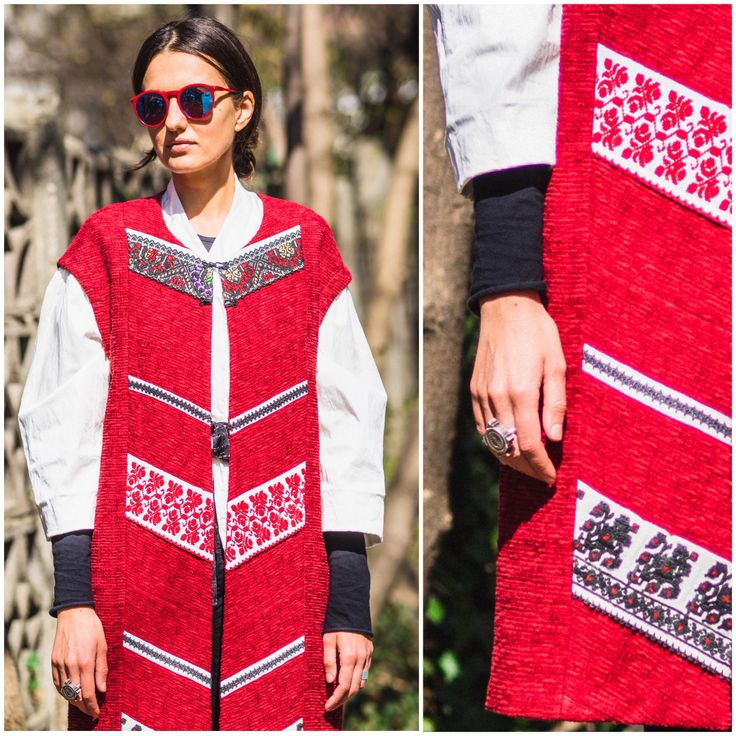 #red #patched #vest #romanian #design #adrianoianu #handmade #embroidery