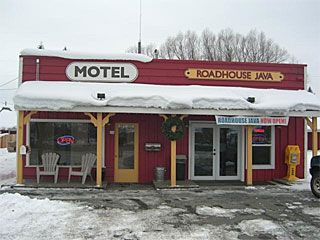 Stay at the Meadows Valley Motel and they have an Espresso Shop next door! (call 800-844-3246)